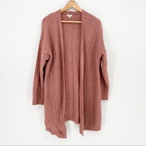 Debut Long Dusty Rose Cardigan